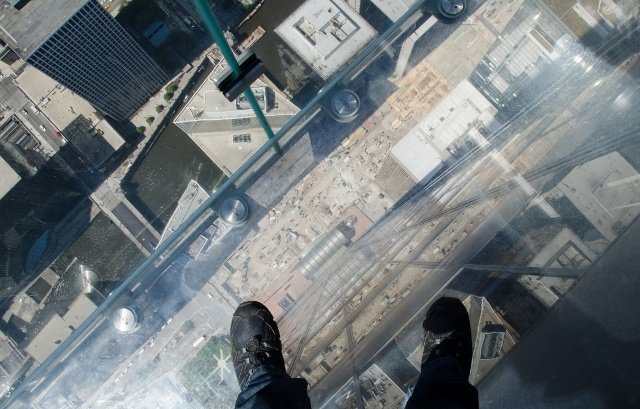 View down from the Skydeck Ledge, Chicago, USA