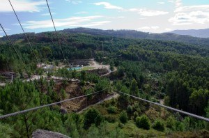 Read more about the article Grown-up Travel Guide Daily Photo: Ziplining at Diver Adventure Park, Lanhoso, Portugal