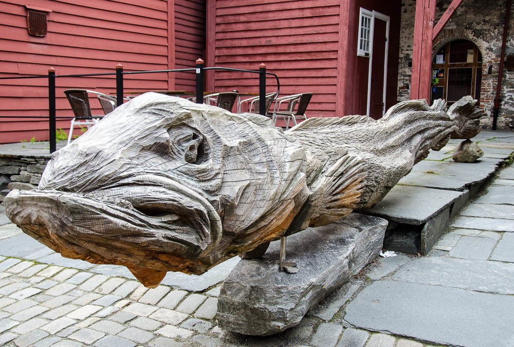 Huge wooden carving of dried cod
