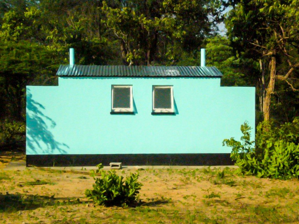 Double teachers' toilet at Ngamo High School soon after construction 2012