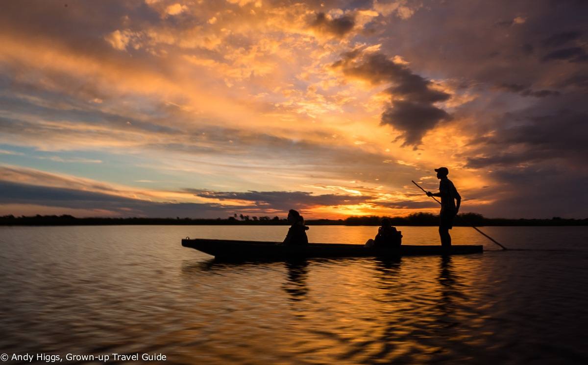 Read more about the article Grown-up Travel Guide's Best Photos: Sunset mokoro ride, Okavango Delta, Botswana
