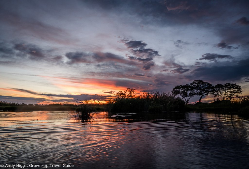 Okavango sunset from water