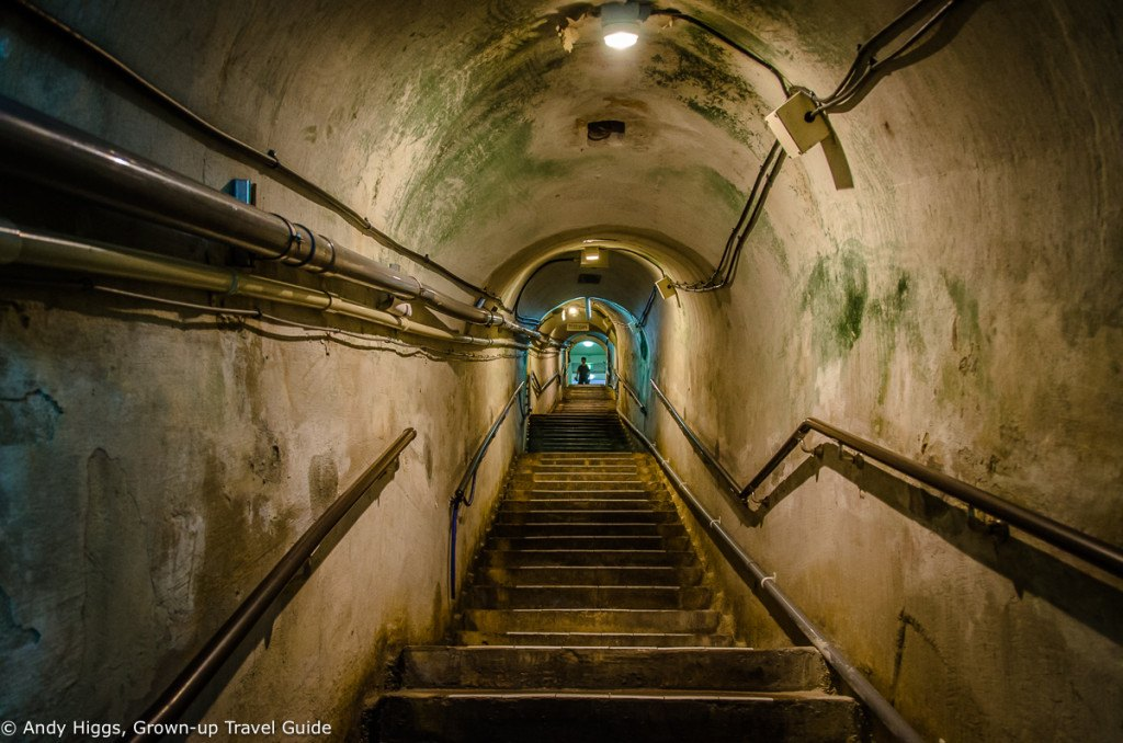 Inside the former Japanese Navy Headquarters bunker in Naha City, Okinawa, Japan