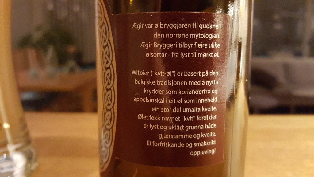 Grown-up Travel Guide Beer Diary - Day 315: Witbier from Ægir Bryggeri of Flåm, Norway